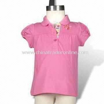 Infant Girls Polo T-shirt with Embroidery, Various Colors are Available