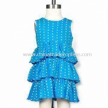 Infant Girls Dot Print, Triple-Layer Knit Dress, Self-Bound Neck and Back Keyhole Opening