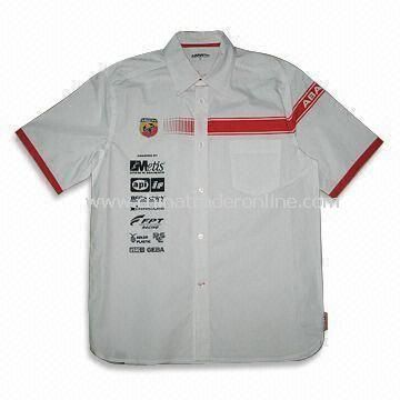 Mens Racing Shirt with Button Down Collar, Made of 60% Cotton and 40% Polyester Twill