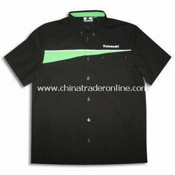 Mens Racing Shirt with Contrast Cuts, Button Down Collar and Embroidered Logos