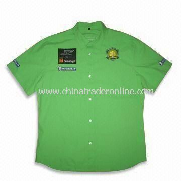 Mens Racing Shirt with Embroidered Logos and Button Down Collar, Made of Lightweight Cotton Twill
