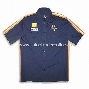 Racing Shirt with Button Down Collar, Made of Cotton and Polyester Twill, Suitable for Men