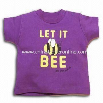 Round Neck Baby T-shirt in Red and Violet Colors, Customized Design are Accepted