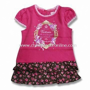 Sleeveless Baby Dress with Printing, Available in Red, Measures 110 to 150cm from China