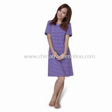 Ladies Nighties with Stripe Jersey Fabric, Comfortable for Sleepwear, Nightwear, and Leisure Wear