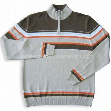 Mens 100% Cotton Sweater with Zipper, Available in Various Colors
