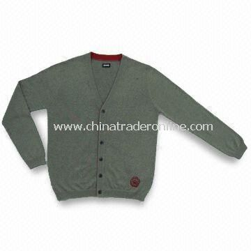 Mens Knitted 100% Cotton Sweater with Stone Washing and 54cm Chest Width