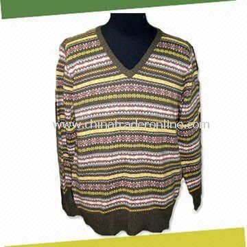 Mens Knitted Sweater, Made of 70% Acrylic and 30% Wool from China