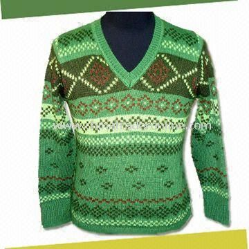 Mens Knitted Sweater with Long Sleeves, Made of 70% Acrylic and 30% Wool