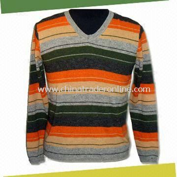 Mens Knitwear Sweater, V-neck and Long Sleeves, Made of 100% Lambswool