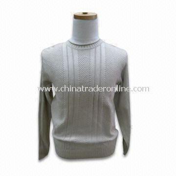Mens Pullover, Jacquard, 6gg Gauge, Made of 55% Cotton and 45% Linen