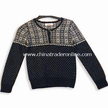 Mens Sweater, Made of 100% Lambs Wool