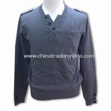 Mens Sweater, V-neck Pullover, 12gg Gauge, Made of 100% Cotton from China