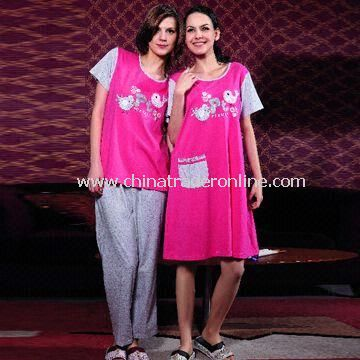 Womens Leisure Home Wear, Made of 100% Cotton, Customized Designs and Colors are Welcome