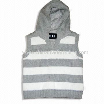 Childrens Knitted Sweater with Cotton Jersey Lining, Made of 1005 Cotton