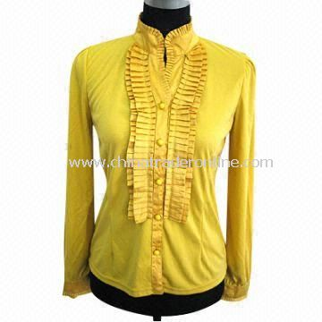 Fashionable Ladies Cardigan, Made of T/R with Woven Collar and Tie