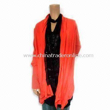 Ladies Cardigan Sweater in Solid Orange, Made of 100% Cotton