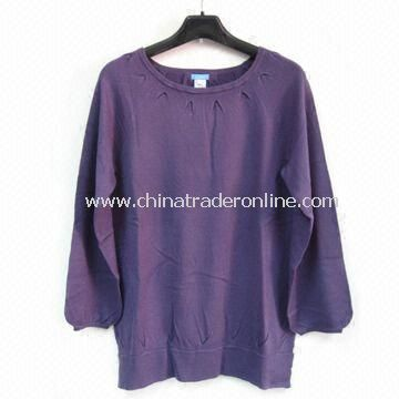 Ladies Knitted Sweater, Made of Acrylic, Long Length Style, Fashionable