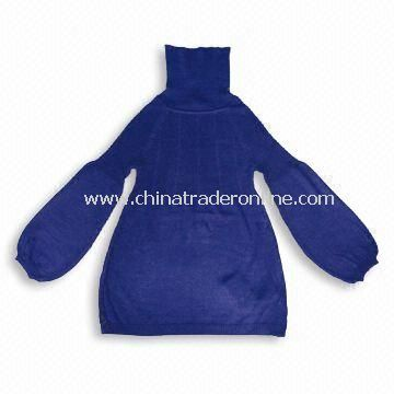 Ladies Knitted Sweater in Royal Blue with Turtleneck, Made of 50% Wool and Acrylic, Basic Style