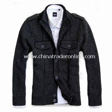 Mens Chunky Cardigan, Made of 80% Lambswool and 20% Nylon