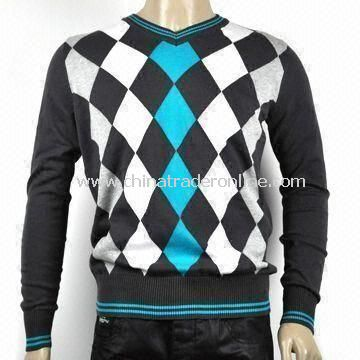 Mens Cotton Fashion Designed Sweater with Pre-washed Garment