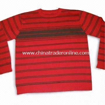 Mens Sweater in Black and Red Strips from China