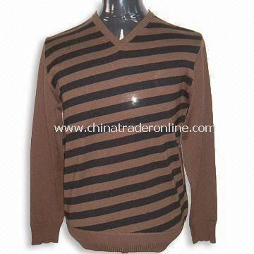 Mens V Neck Sweater, Front Panel Knitted by Auto Machine