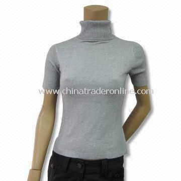 Short-sleeve Sweater with Turtle Neck, Suitable for Women