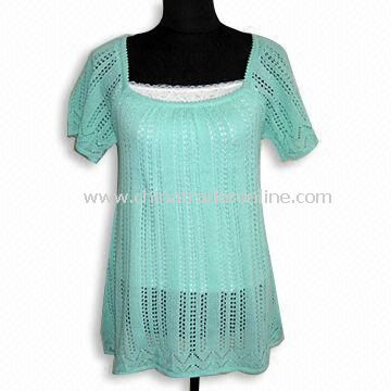 Short-sleeve Womens Sweater, Made of 55% Acrylic and 45% Cotton