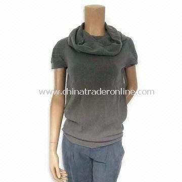 Solid Gray Ladies Sweater with Short Sleeves and Ring Neck, Made of 77% Wool