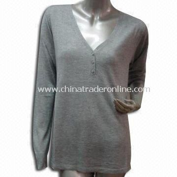 Sweater, Made of 90% Viscose and 10% Cashmere, Suitable for Ladies