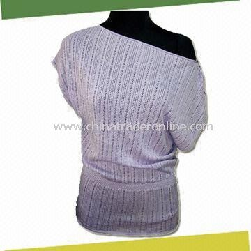 Womens Knitted Sweater, Made of 55% Silk, 45% Cotton