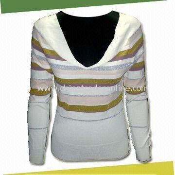 Womens Pullover Knitwear, Made of 70% Viscose,15% Acrylic, 15% Polyester