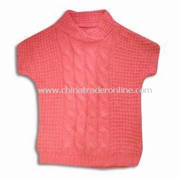 Womens Short Sleeve Sweater in XS to XL Sizes, Made of Acrylic and Mohair Fabric