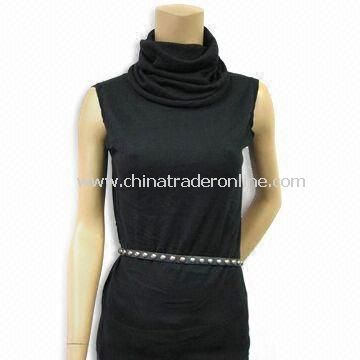 Womens Sleeve-less Sweater with Hits at Lower Hip and Turtle Neck