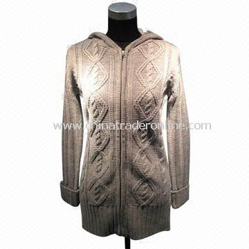 Womens Sweater/Cardigan, Made of 100% Acrylic from China