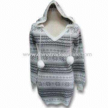 Womens Sweater with Hood, Made of 100% Acrylic