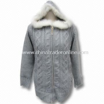 Womens Sweater with Zipper Closure, Made of 3.7 Silkete Acrylic Fiber