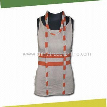 Womens Tank Top, Made of 20% Tencel, 50% Wool and 30% Acrylic