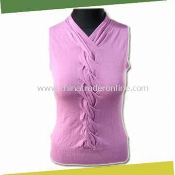 Womens Tank Tops Sweater, Made of 80% Viscose and 20% Nylon from China