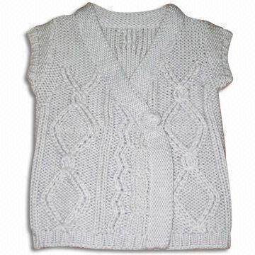 100% Cotton Childrens Sweater with Cables, Knitted