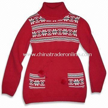 100% Cotton Jacquard Girls Knitted Sweater, Two Front Pockets, Available in Red