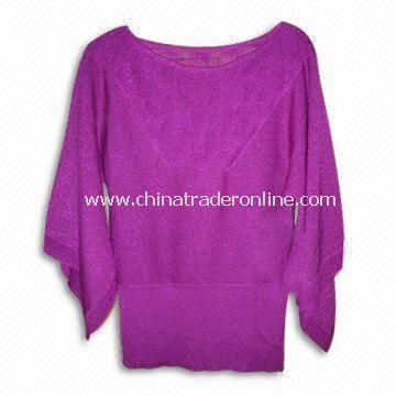 100% Cotton Knitted Sweater with 12GG Gauge, Suitable for Women