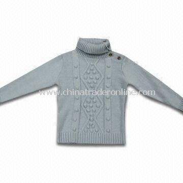 Childrens 100% Knitted Acrylic Sweater, Machine-made with Pretty Artwork