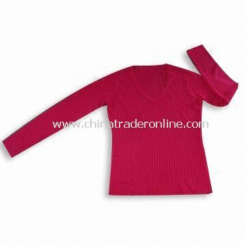Ladies Knitted Soft Feeling Sweater, Made of 100% Soft Acrylic/Cashmere Like