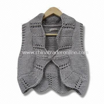 Ladies Knitted Sweater, Handmade and Sleeveless, Various Specifications are Available