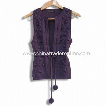 Ladies Knitted Sweater/Pompom Cable Knit Vest, Customized Styles, Colors and Sizes are Welcome