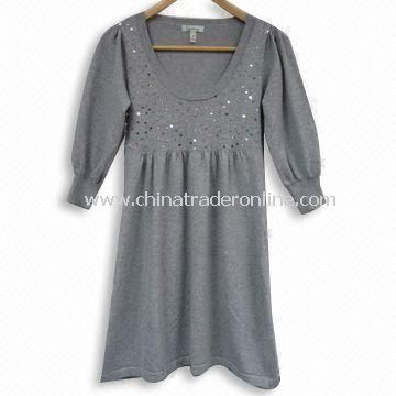 Ladies Knitted Sweater with Skirt Style, Made of 80% Acrylic and 20% Nylon, Fashionable Style