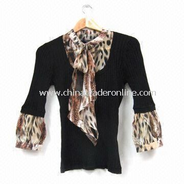 Ladies Knitted Sweater with Woven Fabric, Rayon/Silk/Nylon, Customized Styles are Welcome