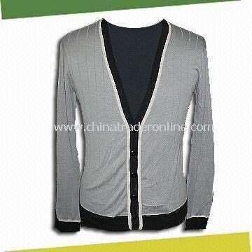 Mens Knitted cCardigan, Made of 75% Silk and 25% Cotton from China